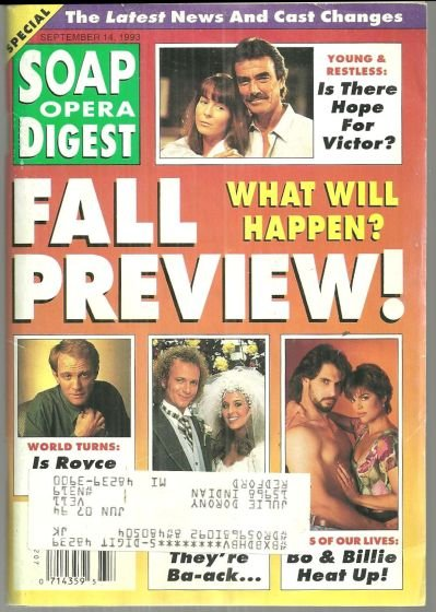 Soap Opera Digest September 14, 1993 Fall Preview