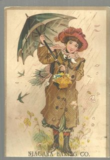 Victorian Trade Card for Niagara Baking Co. with Women in the Rain with Umbrella