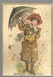 Victorian Trade Card for Niagara Baking Co. with Women in the Rain with Umbrella