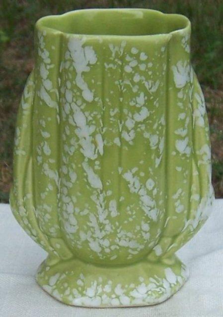 Vintage Green Pottery Vase with White Splatter Spots