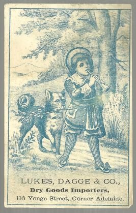 Victorian Trade Card for Lukes, Dagge Importers