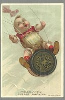 Victorian Trade Card for Williamantic Six Cord Spool Cotton with Flying Baby