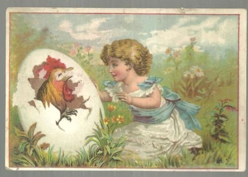 Victorian Trade Card for J. Henrich & Co. Little Girl with Rooster Hatching