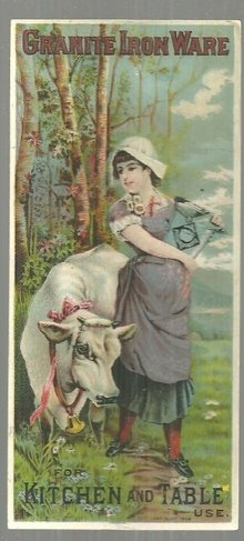 Victorian Trade Card for Granite Iron Ware For Kitchen Lovely Lady and Her Cow