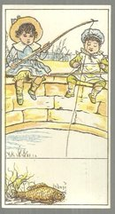 Victorian Card with Two Boys Sitting on Stone Bridge Fishing