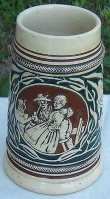 Vintage Green and Brown Ceramic German Beer Stein with Couple and Flowers