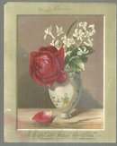 Victorian Christmas Card, a Bright and Happy Christmas with Vase of Roses