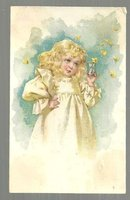 Victorian Trade Card for Aa Aa Coffee with Little Girl Catching Butterflies