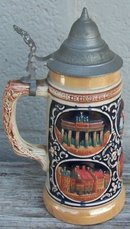Vintage Lidded Ceramic German Beer Stein with German Cities