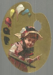Victorian Artist Palette Die Cut Card with Little Girl Having a Soda