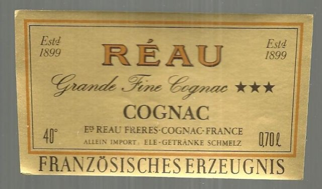 Vintage Label for Reau Grande Fine Cognac