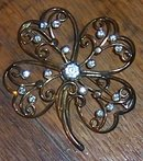 Vintage Gold Tone Lacy Four Leaf Clover Pin with Clear Rhinestones