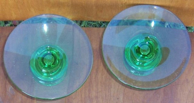 Vintage Pair of Light Green Glass Short Candlesticks
