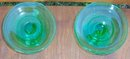 Vintage Pair of Green Glass Short Candlesticks