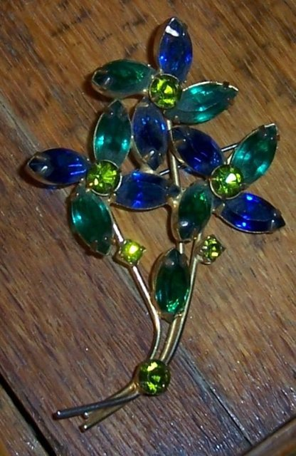 Vintage Gold Tone Flower Bouquet Pin with Blue and Green Rhinestones
