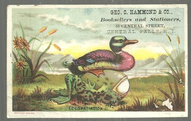 Victorian Trade Card for Geo. C. Hammond and Company Booksellers Rhode Island