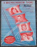 I Remember You From The Fleets In Starring Dorothy Lamour 1942 Sheet Music