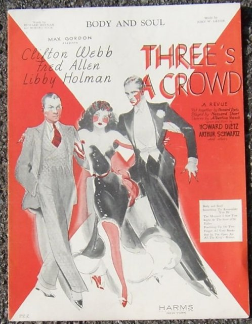 Body and Soul Starring Clifton Webb Fred Allen and Libby Holman 1930 Sheet Music
