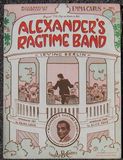 Alexander's Ragtime Band by Irving Berlin Starring Alice Faye 1938 Sheet Music