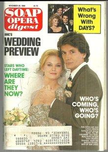 Soap Opera Digest Magazine November 29, 1988 Nat and Jeremy AMC Wedding