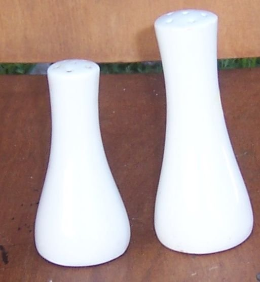 Vintage White Pottery Modern Salt and Pepper Shakers