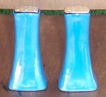 Vintage Made in Japan Blue Lustre with Orange Tops Salt and Pepper Shakers