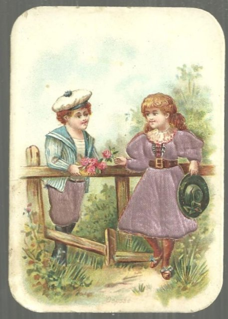 Victorian Trade Card For Chocolat Poulain with Boy and Girl Talking Over Fence