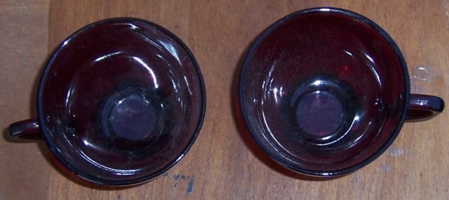Set of Two Vintage Anchor Hocking Ruby Red Glass Cups