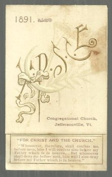 1891 Prayer Meeting Topics Calendar for Congregational Church, Jeffersonvile, VT