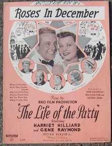 Roses in December From Life of the Party Starring Alice Faye 1937 Sheet Music