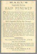 Victorian Trade Card for Hall's Vegetable Sicilian Hair Renewer w/ Cute Children
