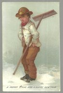 Victorian Merry Christmas and A Happy New Year Card With Boy and His Snow Shovel
