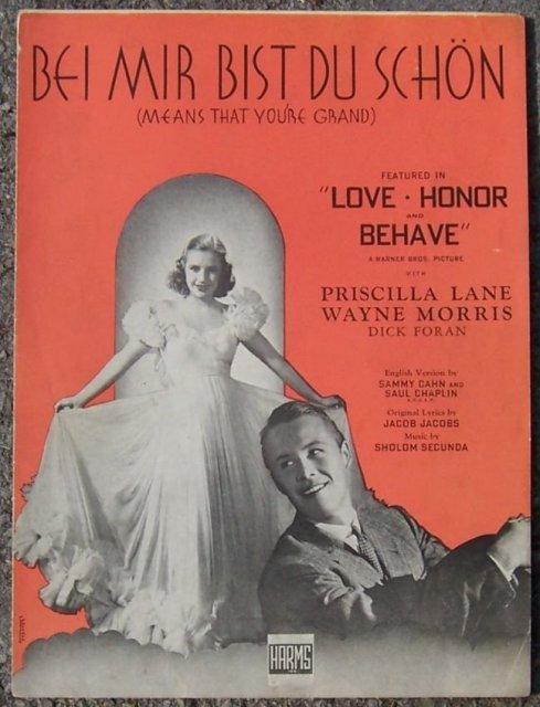 Bei Mir Bist Du Schon (Means That You're Grand) 1937 Movie Sheet Music