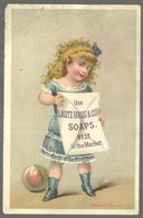 Victorian Trade Card for Lautz Bros. Soaps The Napkin Soap with Little Girl