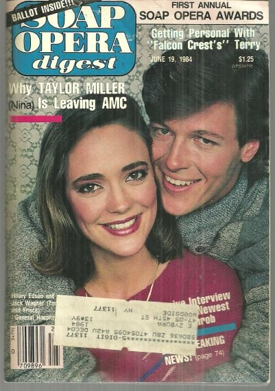 Soap Opera Digest Magazine June 19, 1984 Hilary Edson and Jack Wagner from GH