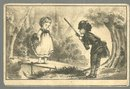 Victorian Trade Card for Brown's Pepsin Tonic with Little Girl and Hunter