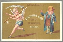 Victorian Trade Card For Jas. S. Kirk Soap Makers, Chicago with Father Time