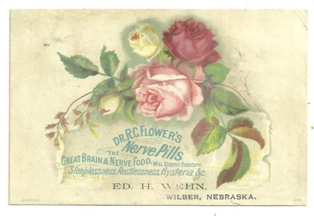 Victorian Trade Card for DR. R. C. Flower's Nerve Pills with Rose Bouquet