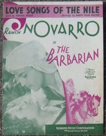 Love Songs of the Nile Sung by Ramon Novarro in The Barbarian 1933 Sheet Music