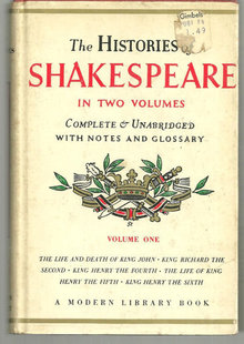 Histories of William Shakespeare Complete and Unabridged Volume One Modern Lib