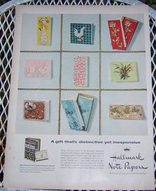 1956 Hallmark Note Papers for Christmas Life Magazine Advertisement