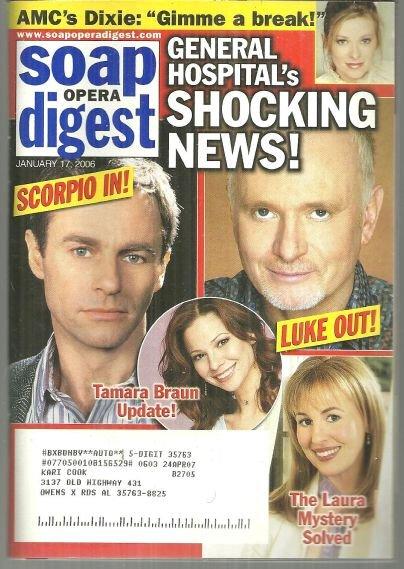 Soap Opera Digest Magazine January 17, 2006 General Hospital's Shocking News