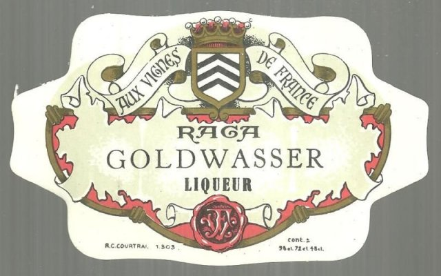Vintage Label for Raga Goldwasser Liqueur