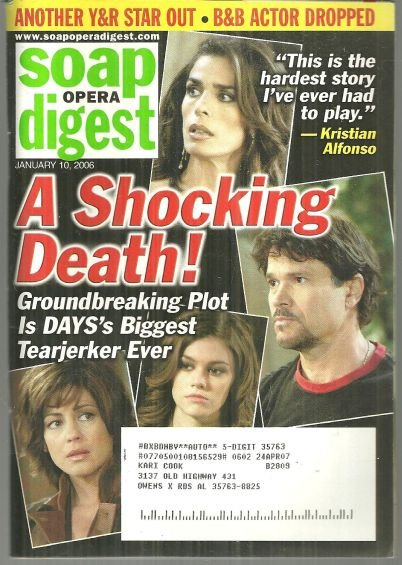 Soap Opera Digest Magazine January 10, 2006 Days Shocking Death on the Cover