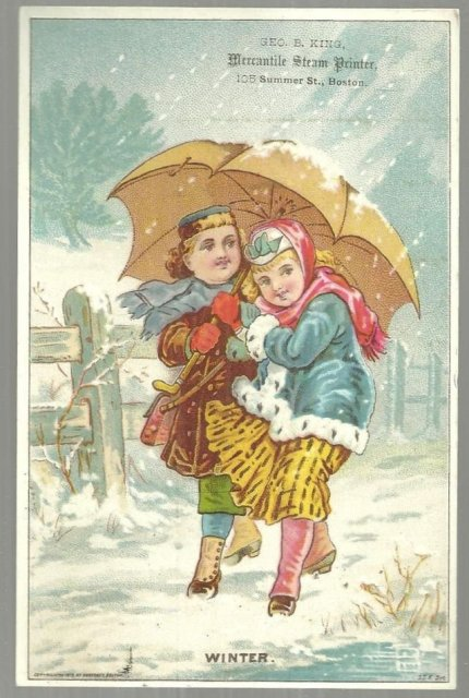 Victorian Trade Card for Geo. E. King Mercantile Steam Printer Girls in Winter