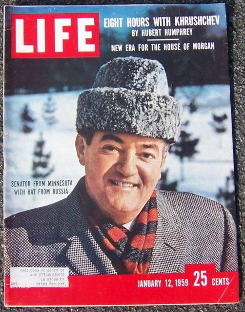 Life Magazine January 12, 1959 Senator Hubert Humphrey on cover