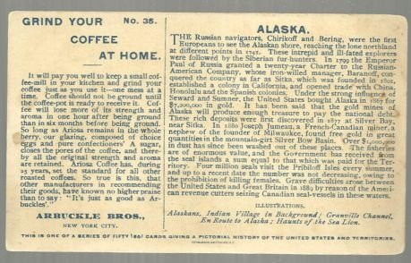 Victorian Trade Card for Arbuckle Bros. Coffee State of Alaska