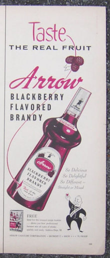 1956 Arrow Blackberry Flavored Brandy Life Magazine Advertisement