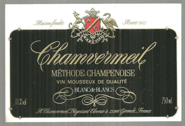 Vintage Label for Chamvermeil Methode Champenoise Wine