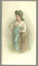 Victorian Card with Farmer Boy Leaning on Post